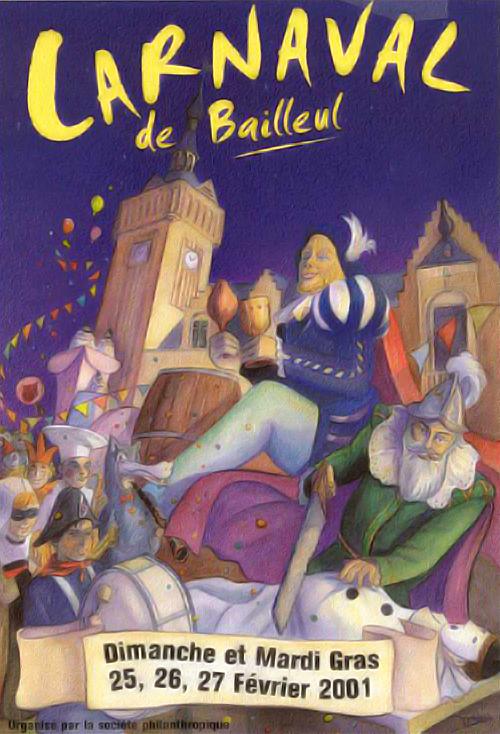 Affiche 2001 du Carnaval de Bailleul