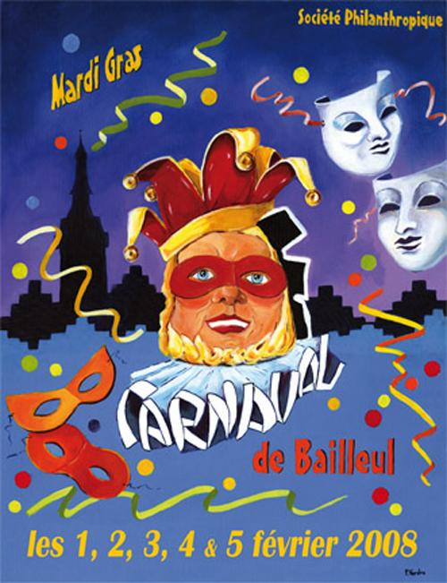 Affiche 2008 du Carnaval de Bailleul