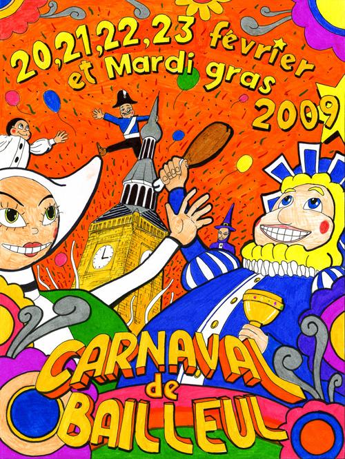 Affiche 2009 du Carnaval de Bailleul