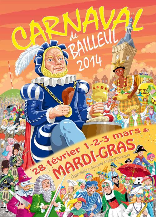Affiche 2014 du Carnaval de Bailleul
