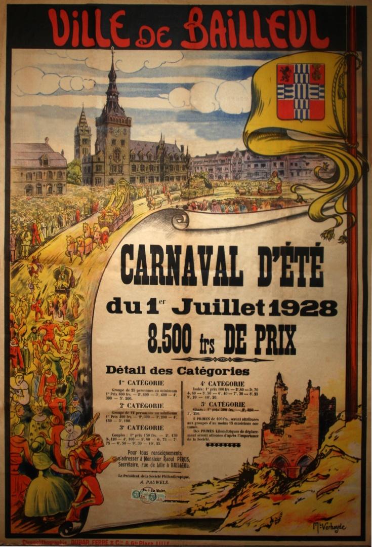 Affiche 1928 du Carnaval de Bailleul