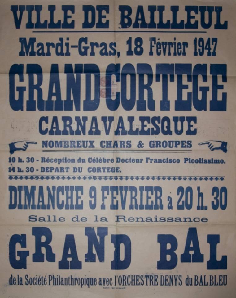 Affiche 1947 du Carnaval de Bailleul