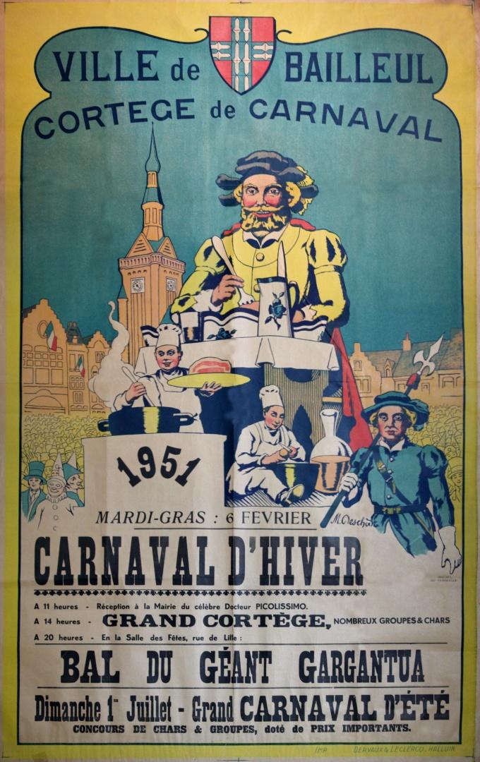 Affiche 1951 du Carnaval de Bailleul