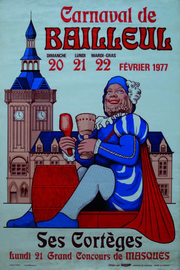 Affiche 1977 du Carnaval de Bailleul