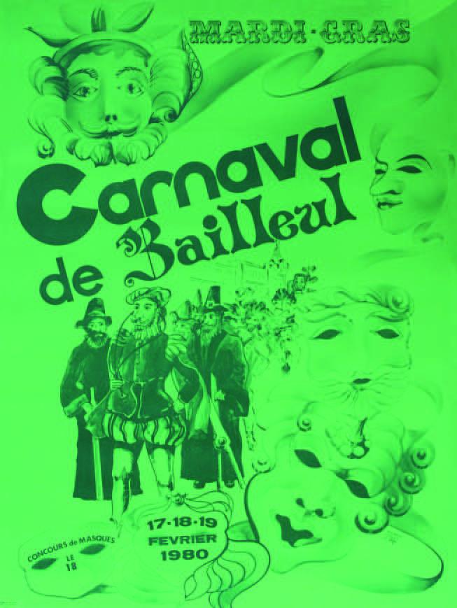 Affiche 1980 du Carnaval de Bailleul