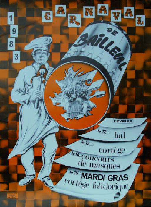 Affiche 1983 du Carnaval de Bailleul