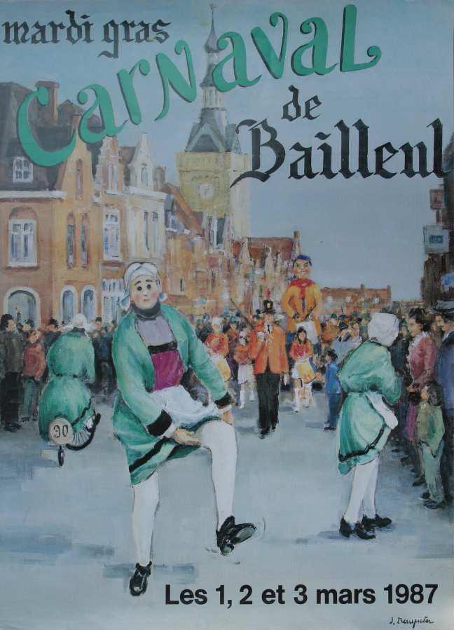 Affiche 1987 du Carnaval de Bailleul