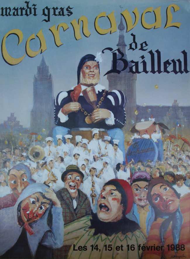 Affiche 1988 du Carnaval de Bailleul