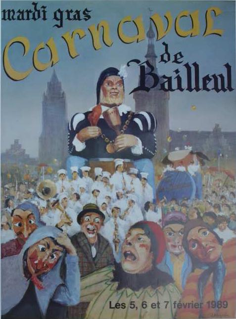 Affiche 1989 du Carnaval de Bailleul
