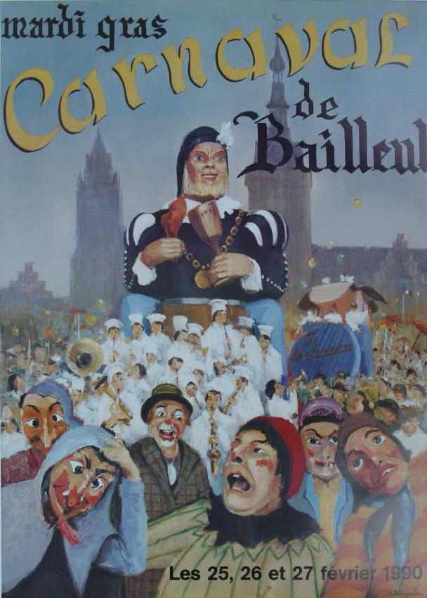 Affiche 1990 du Carnaval de Bailleul