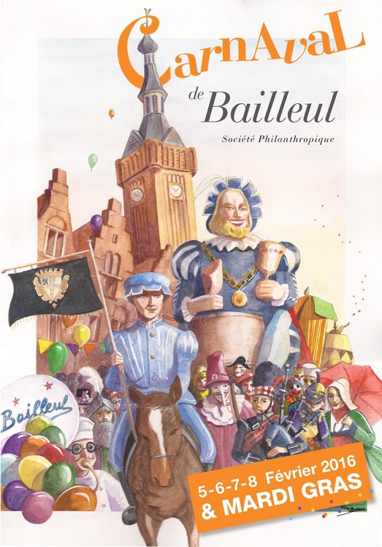 Affiche 2016 du Carnaval de Bailleul