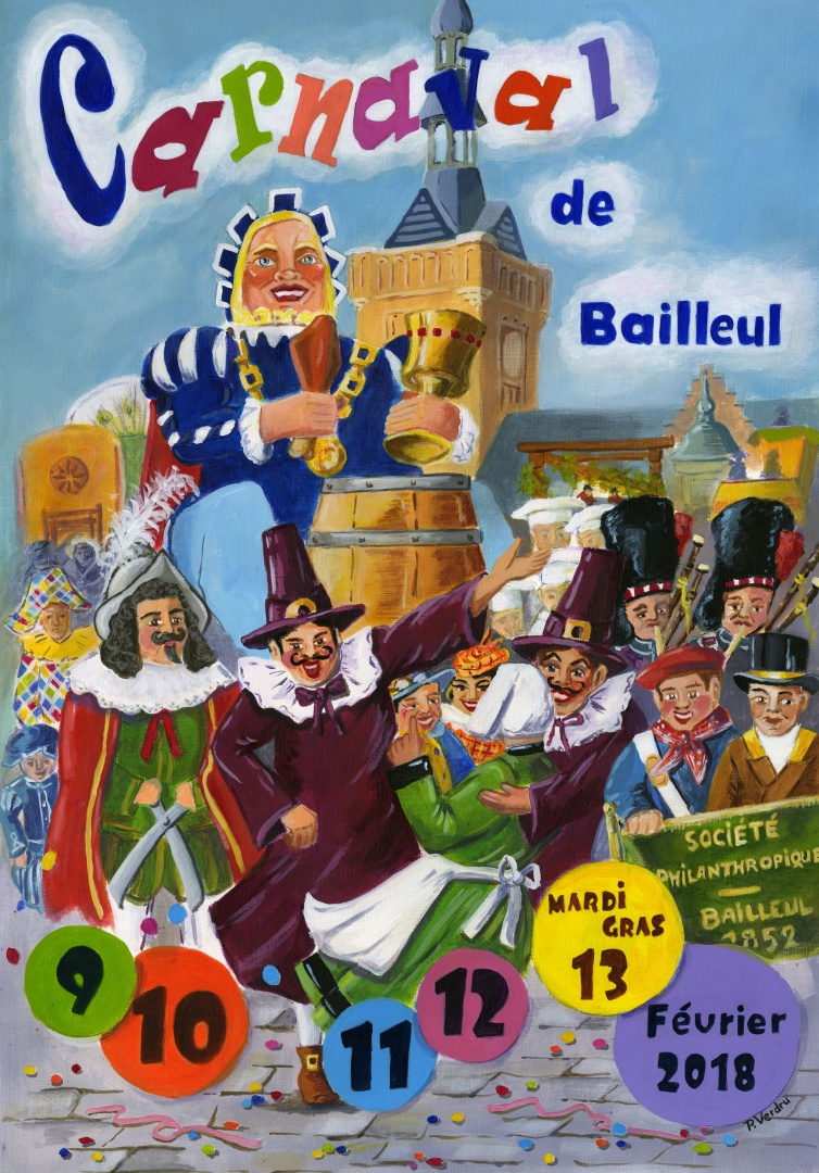 Affiche 2018 du Carnaval de Bailleul – P. Verdru