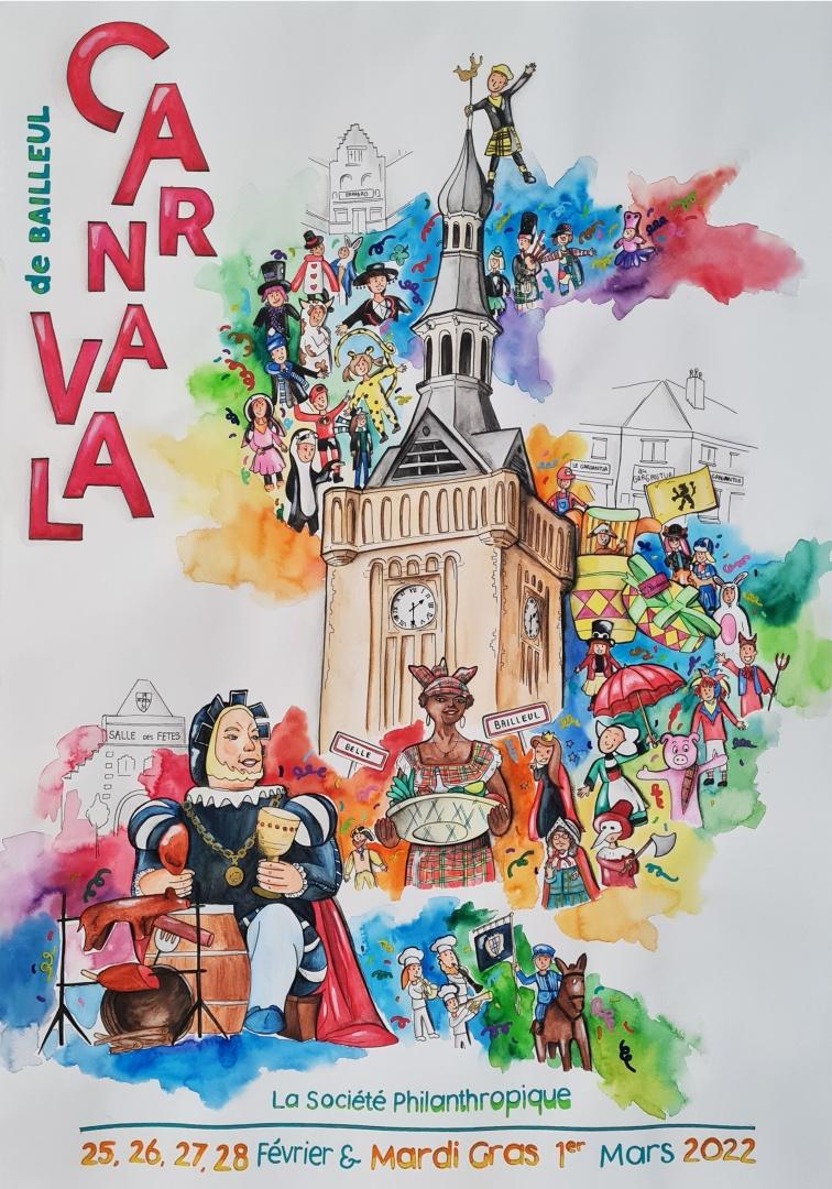 Affiche du carnaval de Bailleul 2022